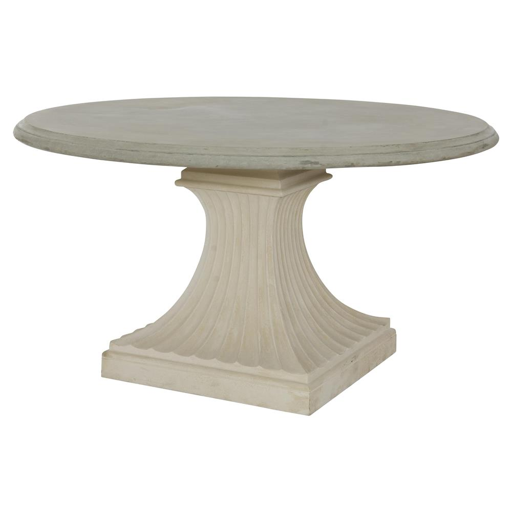 Pat french concrete column pedestal base outdoor dining table for Outdoor round table tops for sale