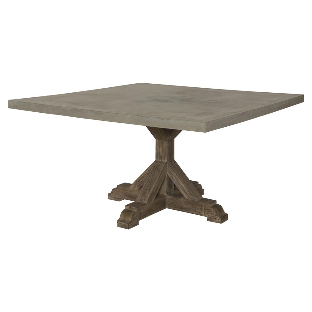 Lenore French Country Trestle Square Top Teak Outdoor Dining Table