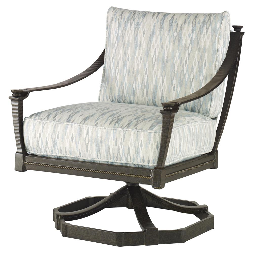 Jane Modern French Blue Swivel Rocker Metal Outdoor Lounge
