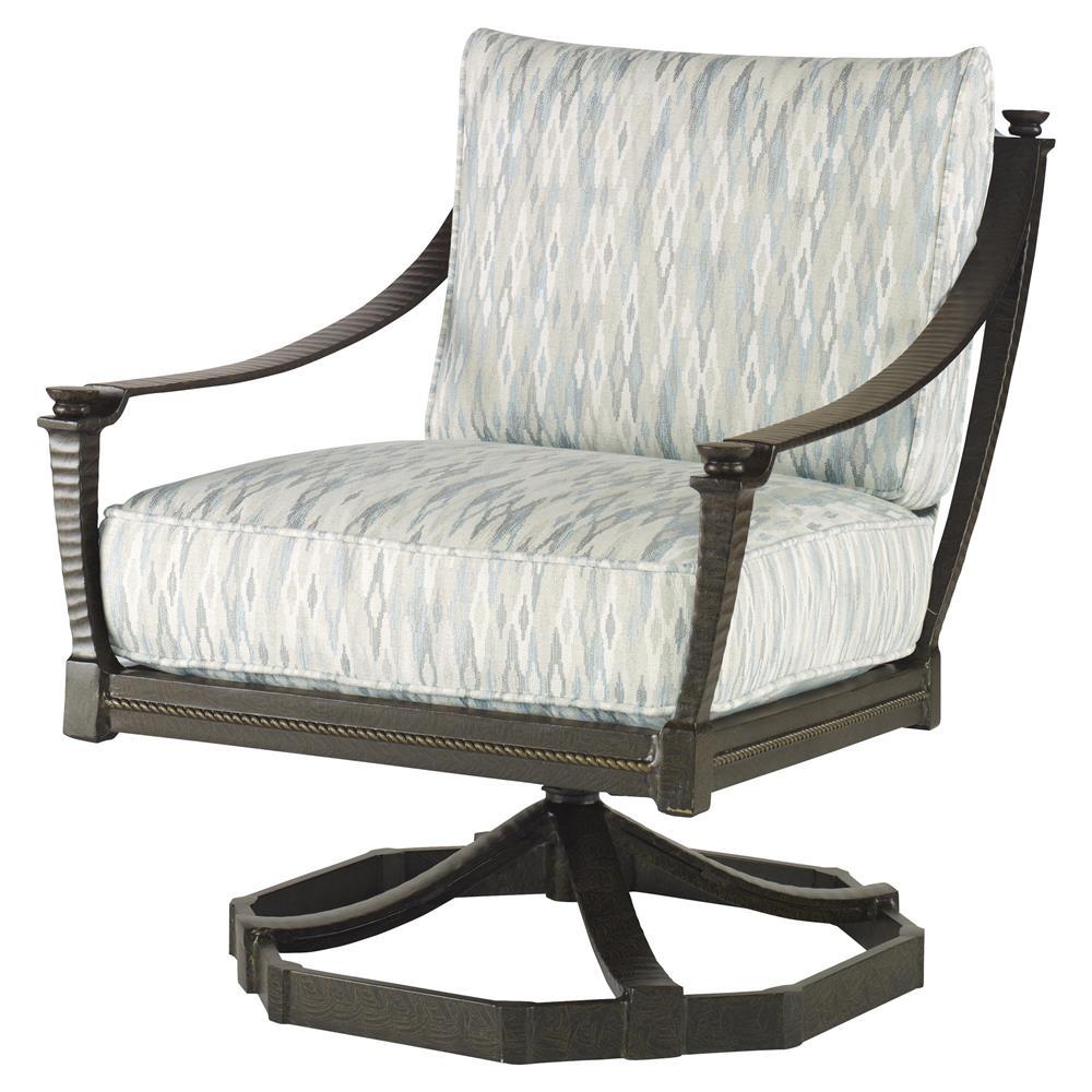 Rollins Modern Arm Chair Blue: Jane Modern French Blue Swivel Rocker Metal Outdoor Lounge
