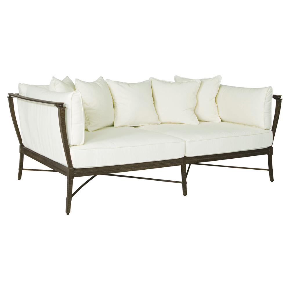 jane modern french metal white outdoor daybed kathy kuo home. Black Bedroom Furniture Sets. Home Design Ideas