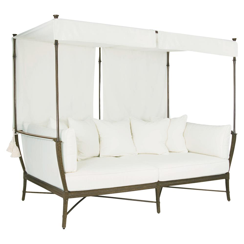 Jane modern french white canopy metal outdoor daybed for Outside daybed with canopy