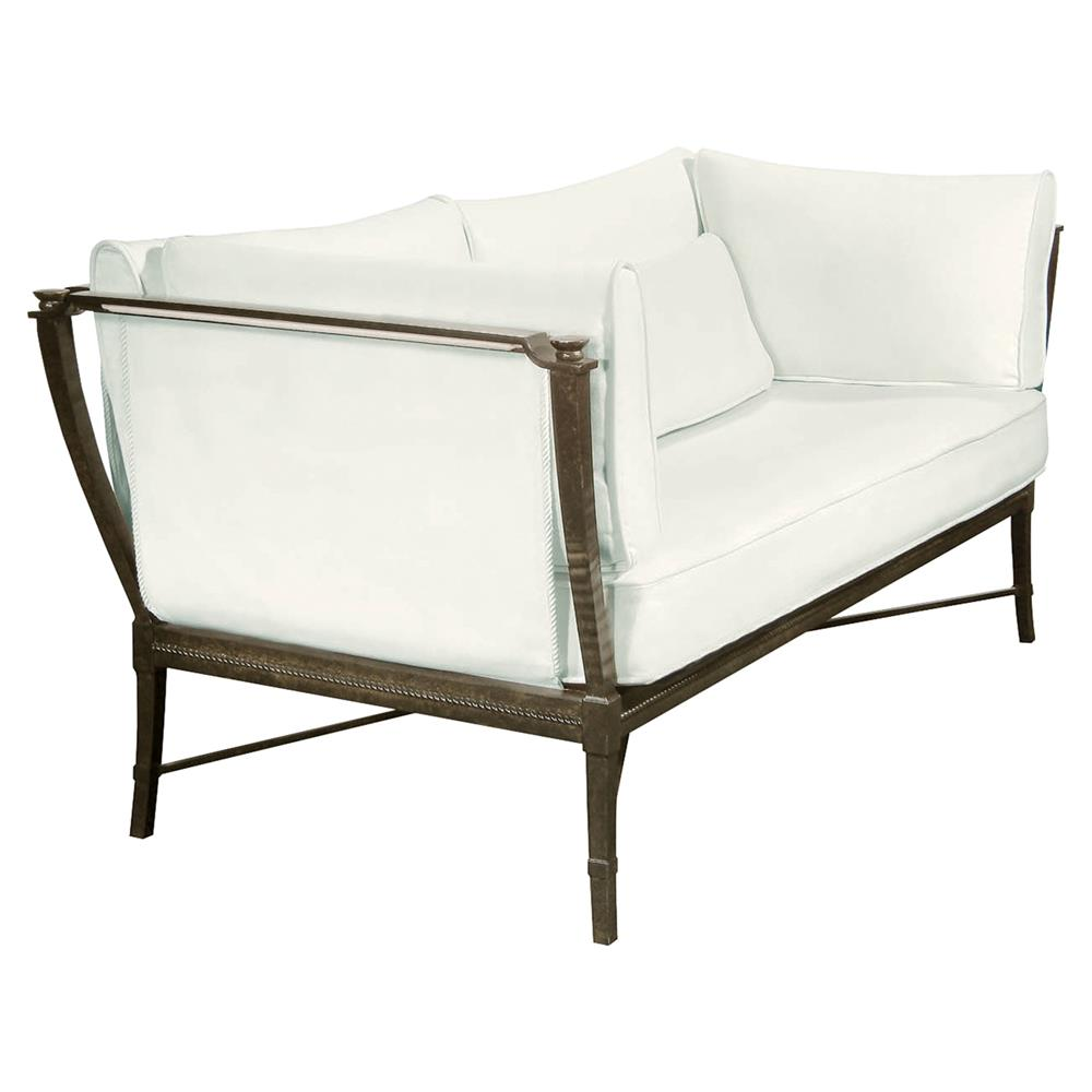 Jane modern french metal white outdoor loveseat sofa for Sofa outdoor