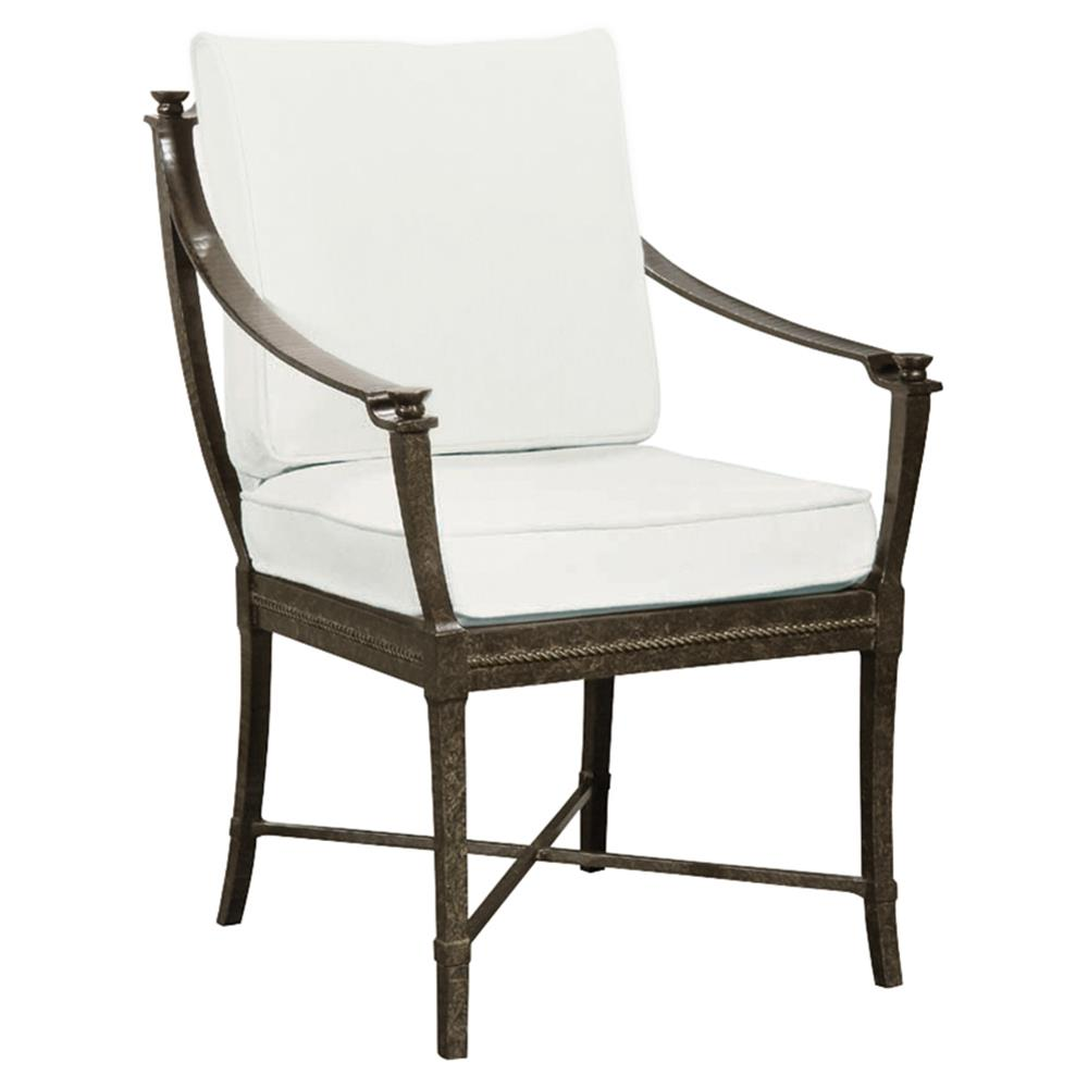 Jane modern french metal white outdoor dining arm chair for Outdoor dining chairs modern