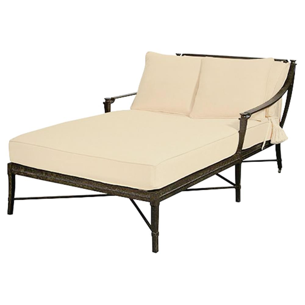 jane modern french sailcloth sand metal outdoor double chaise kathy kuo home. Black Bedroom Furniture Sets. Home Design Ideas