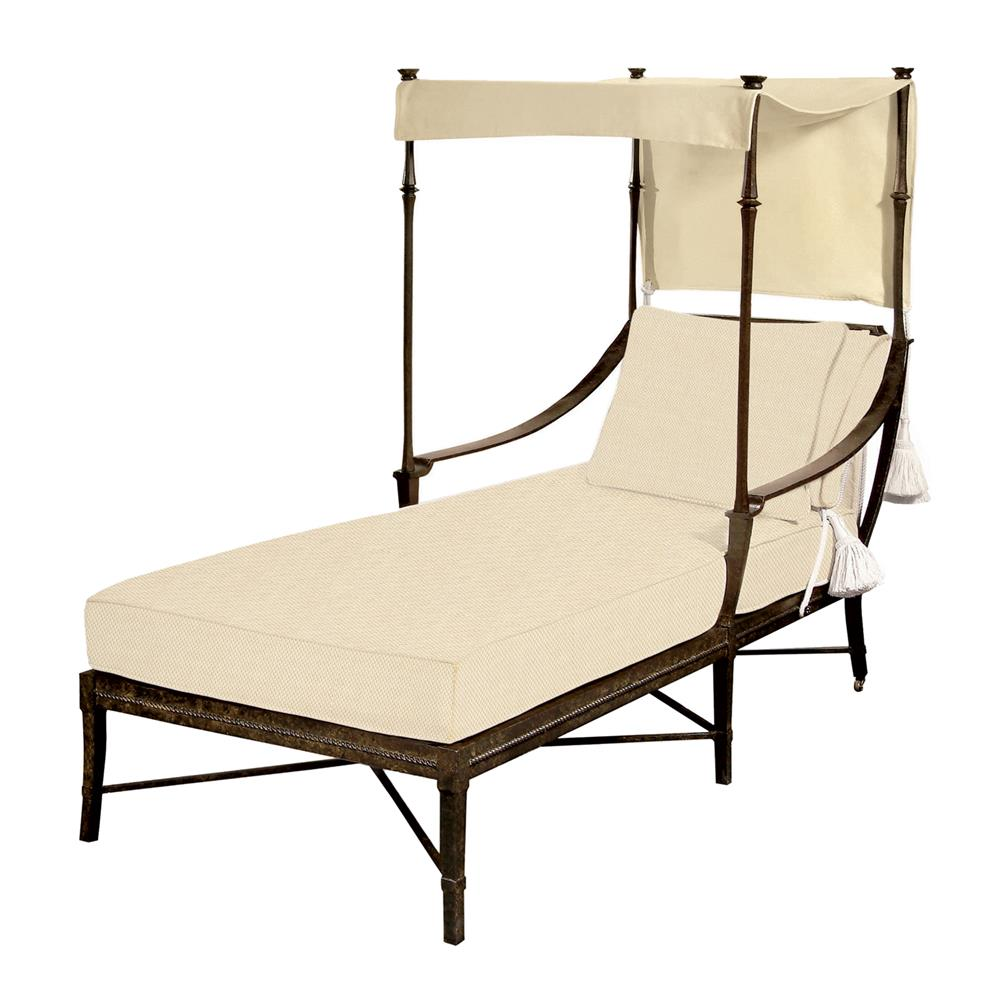 jane modern french sailcloth sand canopy metal outdoor single chaise kathy kuo home. Black Bedroom Furniture Sets. Home Design Ideas