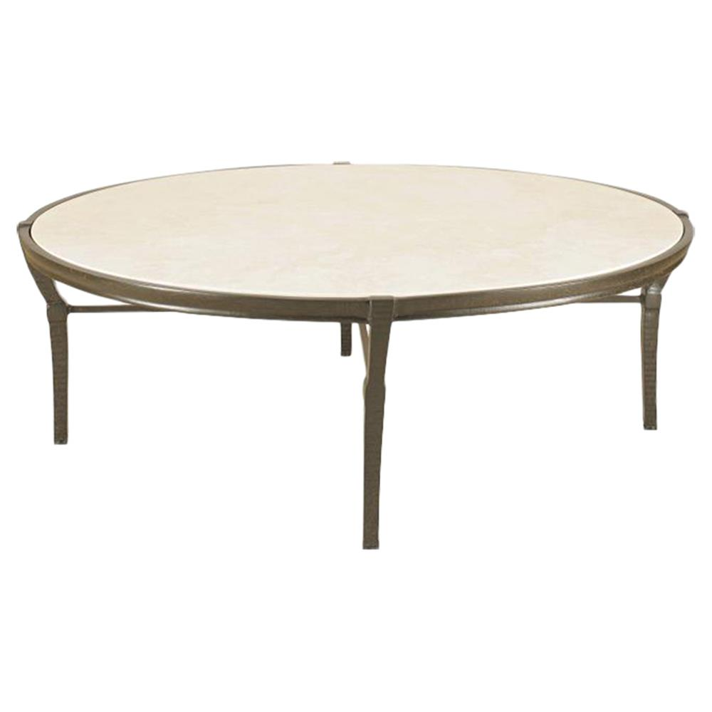 Jane Modern French Round Stone Top Metal Outdoor Coffee Table Kathy Kuo Home