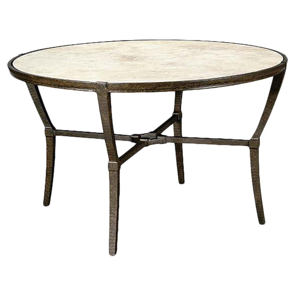 Metal Top Dining Table : ... French Stone Top Metal Outdoor Round Dining Table  Kathy Kuo Home