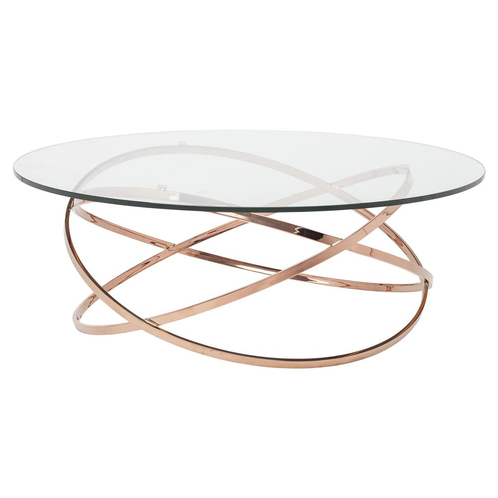Savannah Modern Classic Rose Gold Glass Coffee Table Kathy Kuo Home