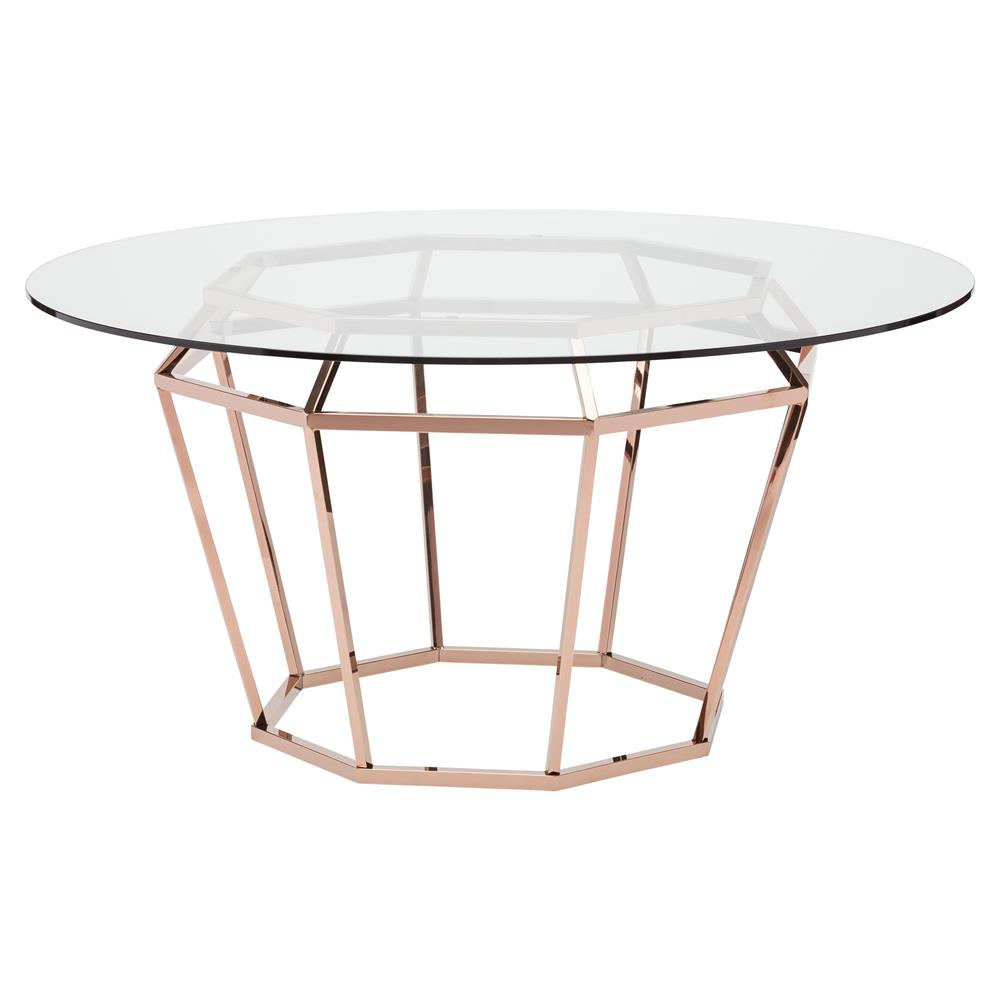 Gold Dining Tables ~ Marilyn modern glass metal rose gold diamond dining table
