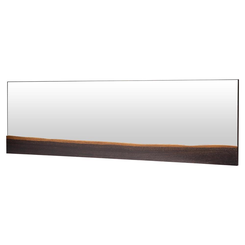 Mirror Decoration rustic oak framed mirrors : Levi Rustic Lodge Horizontal Brown Oak Wall Mirror - 60W ...