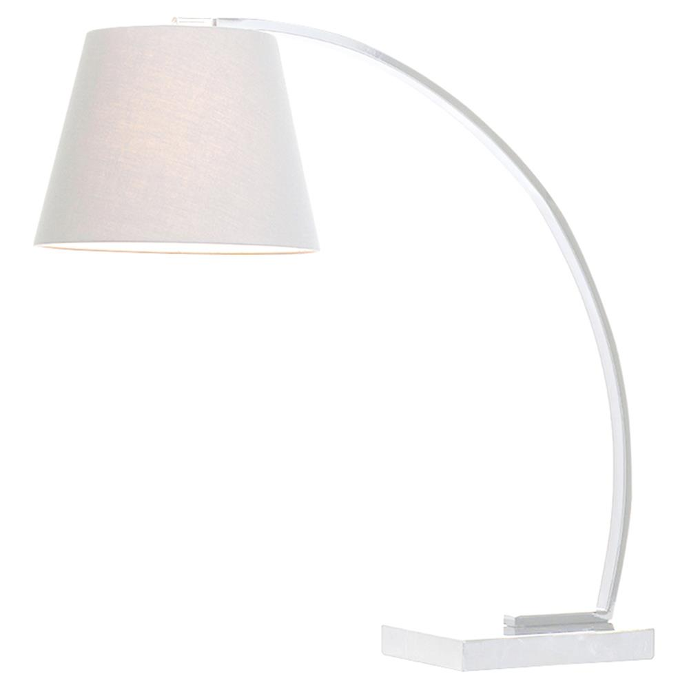 Axel Modern Classic White Marble Mounted Arc Table Lamp | Kathy Kuo Home