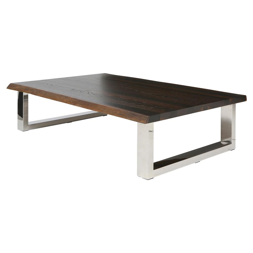 Zinnia Industrial Loft Brown Oak Stainless Steel Coffee Table Kathy Kuo Home