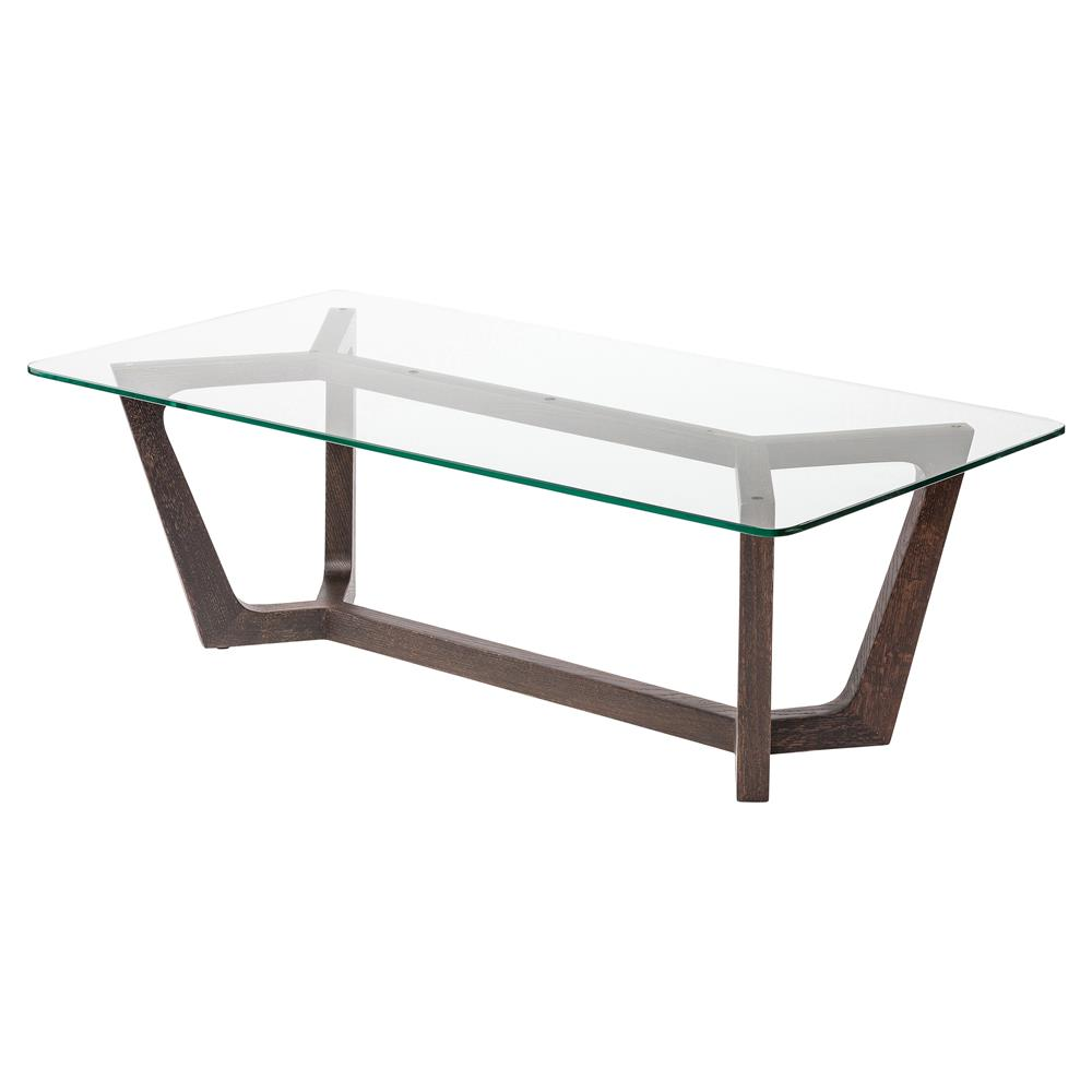 Coffee Tables Haden Modern Brown Oak Glass Top Coffee Table