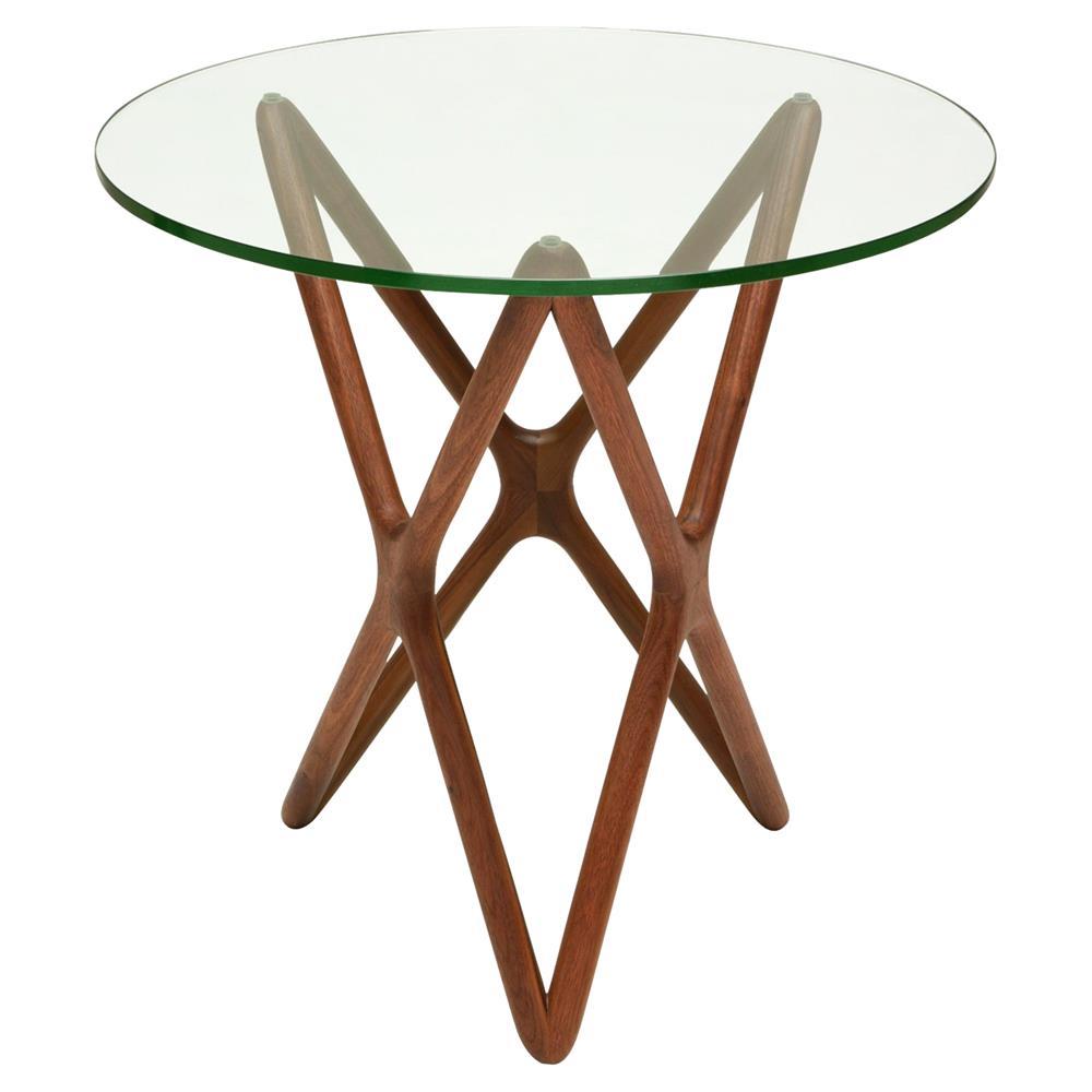 Glass Wooden Side Tables: Centauri Mid Century Glass Top Wood Mid Century Base Side
