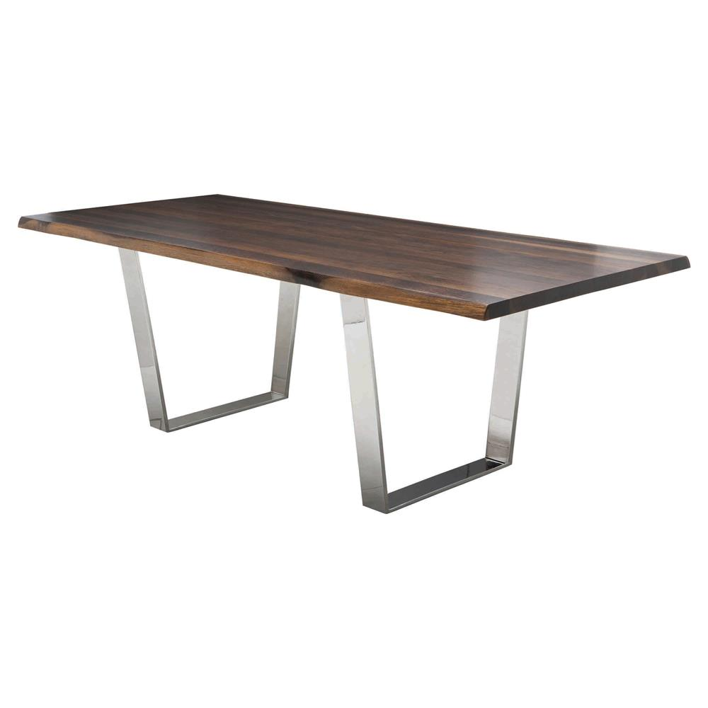 Cogsworth industrial brown oak stainless steel dining for Stainless steel dining table