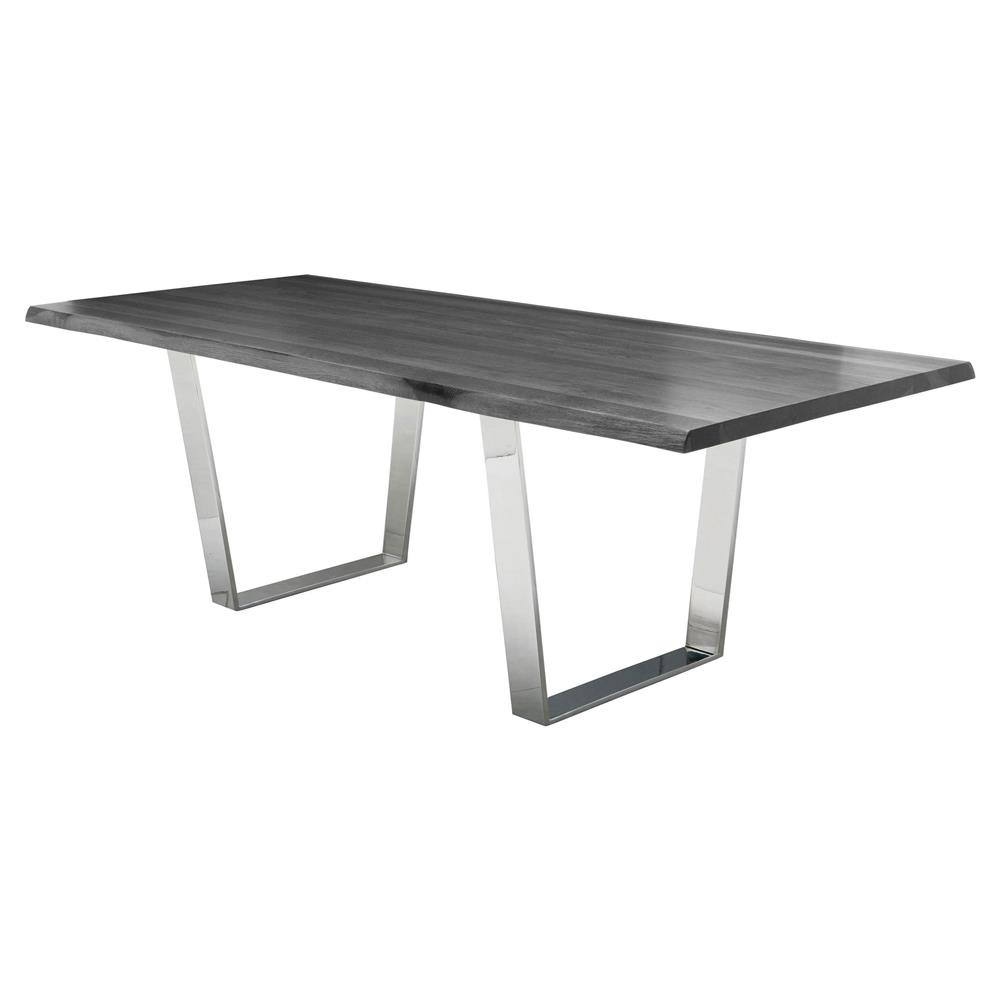 Cogsworth Industrial Grey Oak Stainless Steel Dining Table