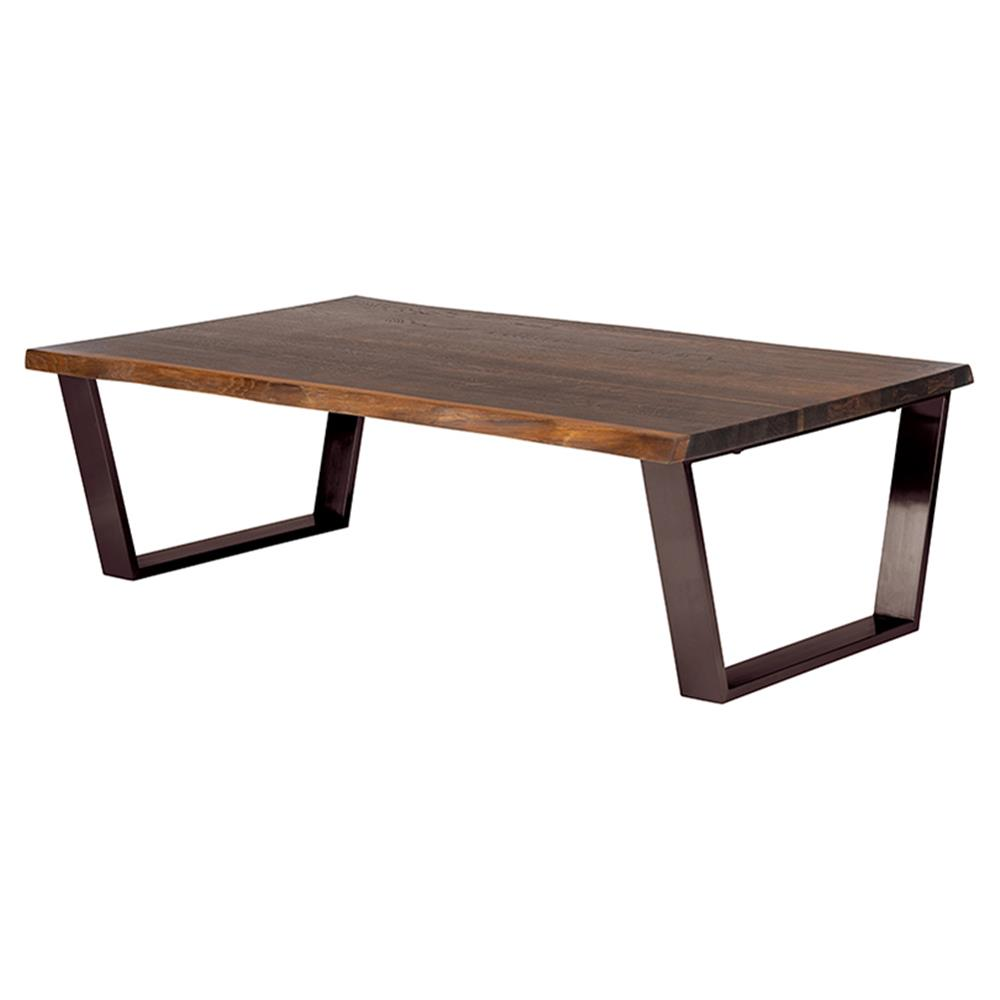 Cogsworth Industrial Brown Oak Black Coffee Table Kathy Kuo Home
