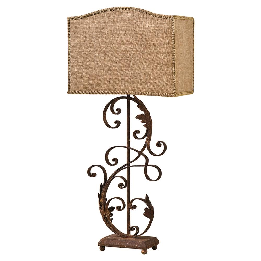 Rustic Scroll: Lavonne French Country Rustic Iron Scroll Table Lamp
