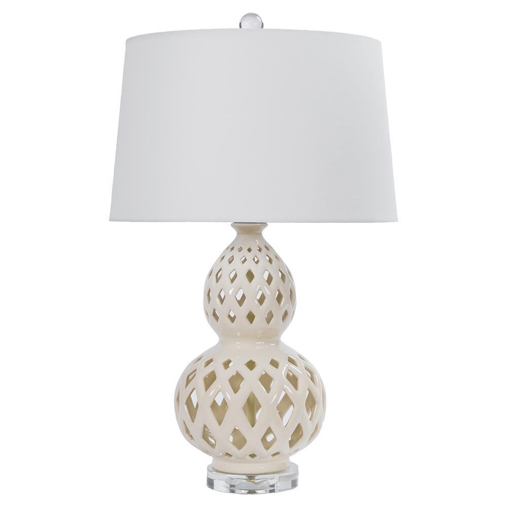 Ashkar Bazaar Ivory Ceramic Cut Ceramic Table Lamp Kathy