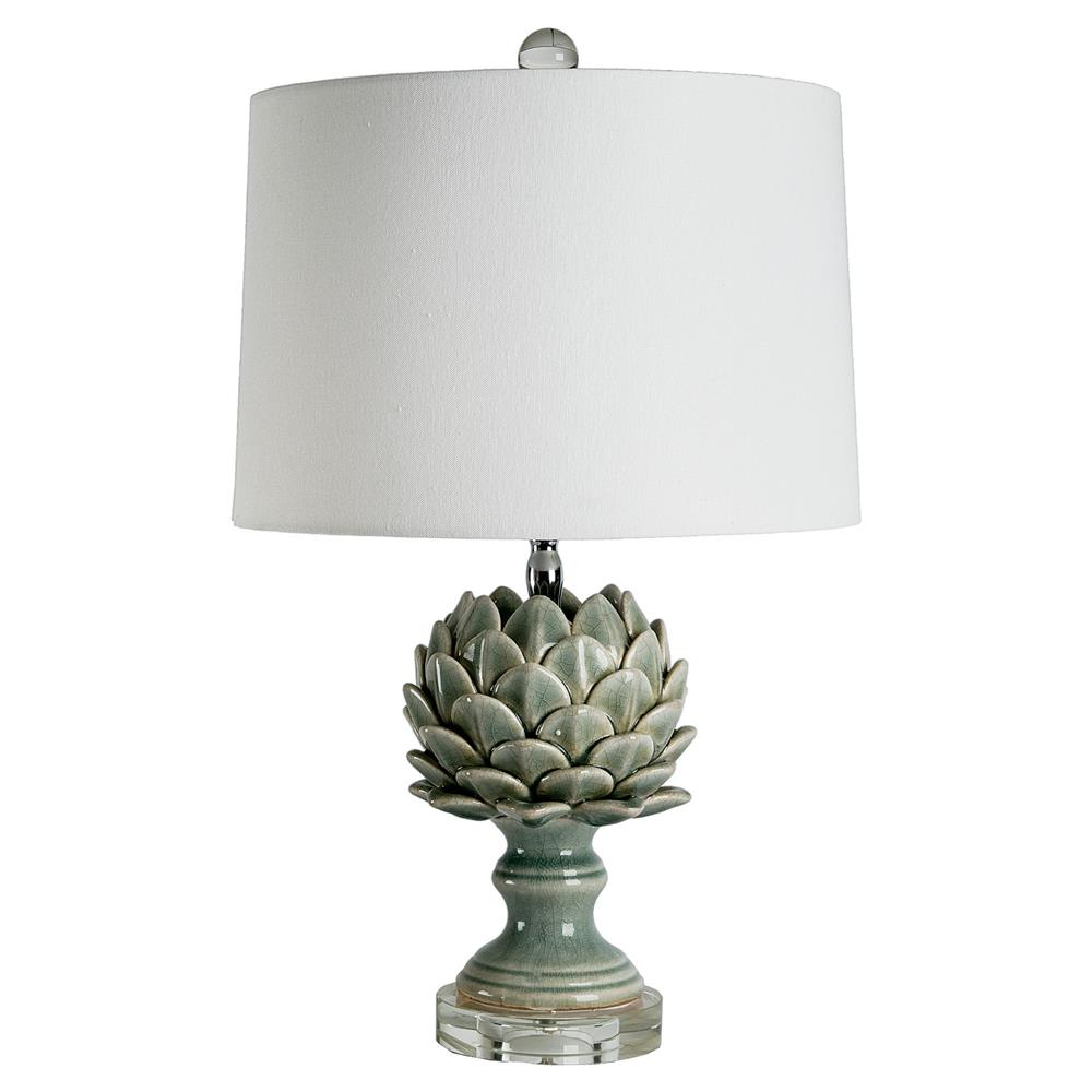 Fiesole Global Modern Green Leaf Artichoke Table Lamp