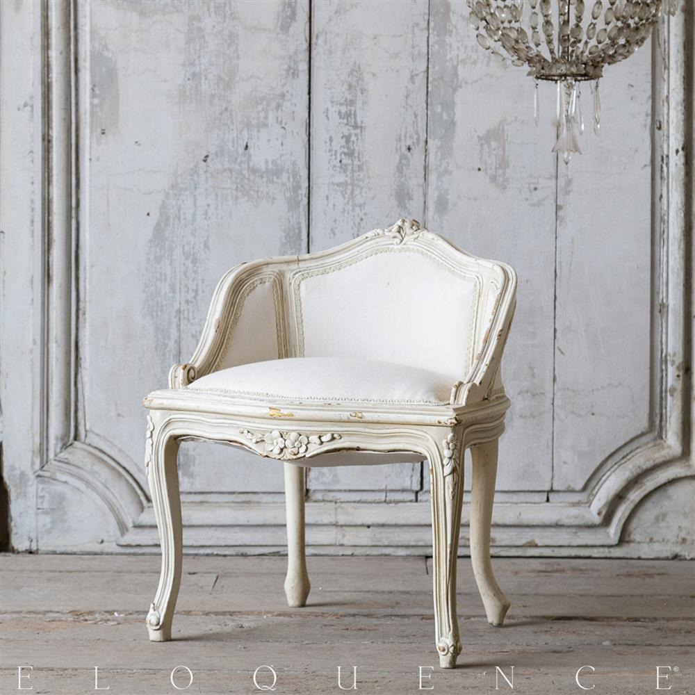 eloquence vintage french cream floral carved banquette 1940 kathy kuo home. Black Bedroom Furniture Sets. Home Design Ideas