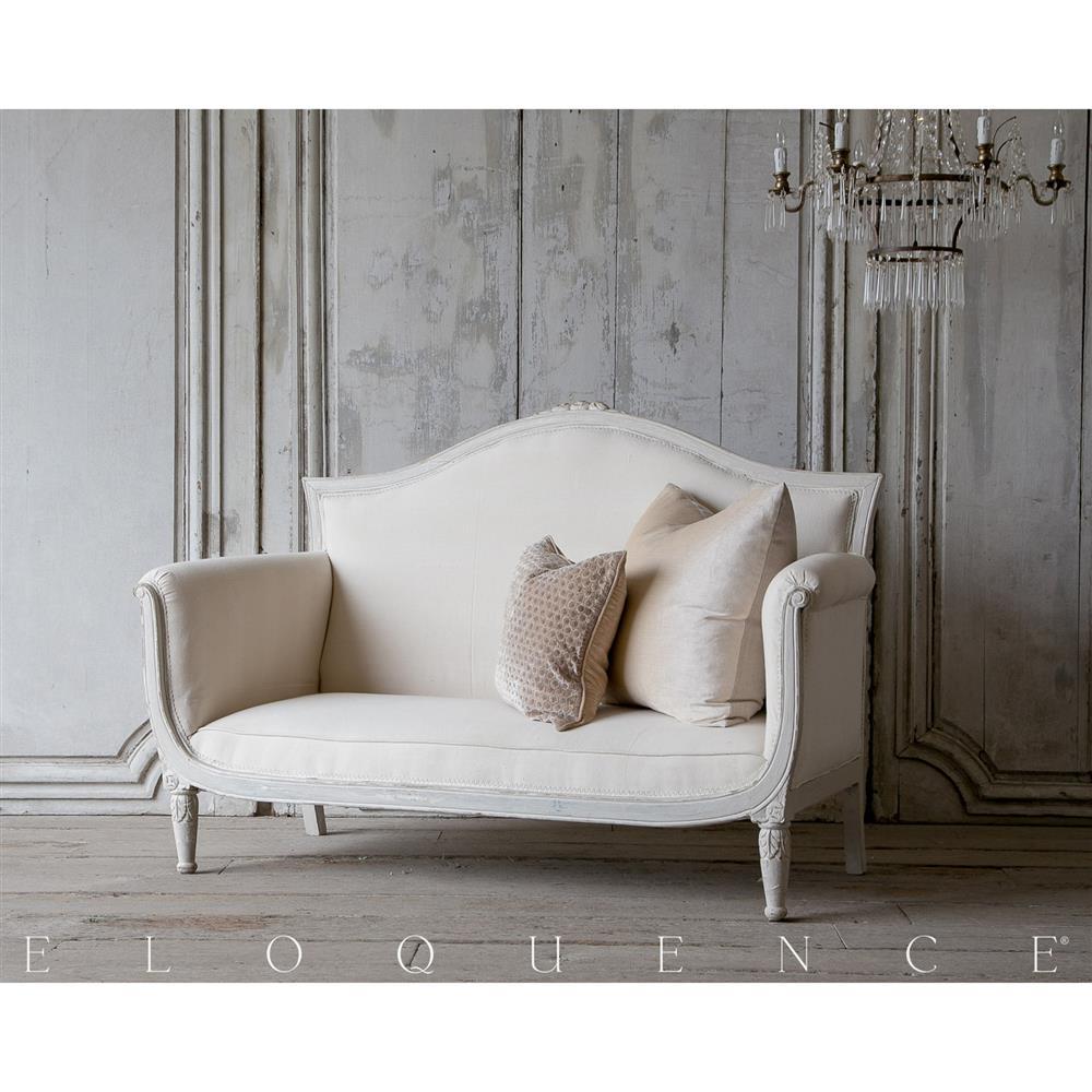 Eloquence® Vintage Ivory Cream Grey Petite Settee Sofa 1940 | Kathy Kuo ...
