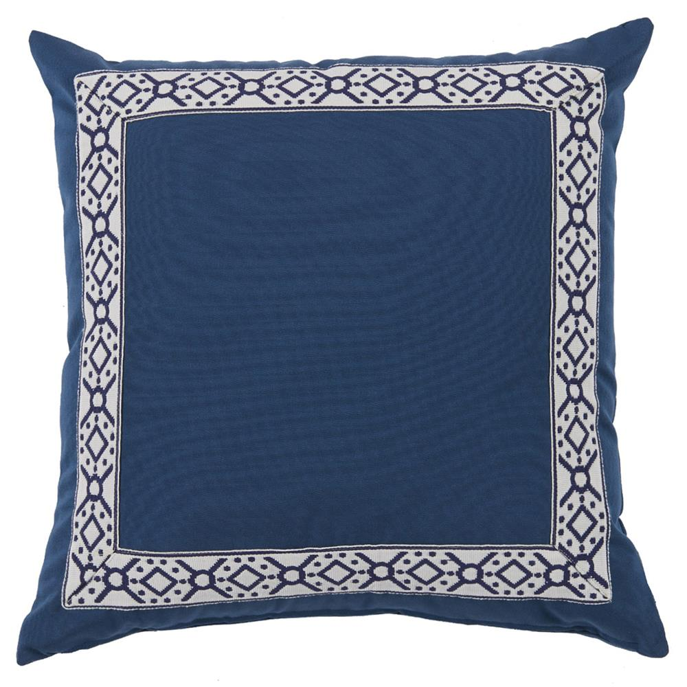 Modern Blue Outdoor Pillows : Perri Modern Global Trim Navy Blue Outdoor Pillow - 22x22 Kathy Kuo Home
