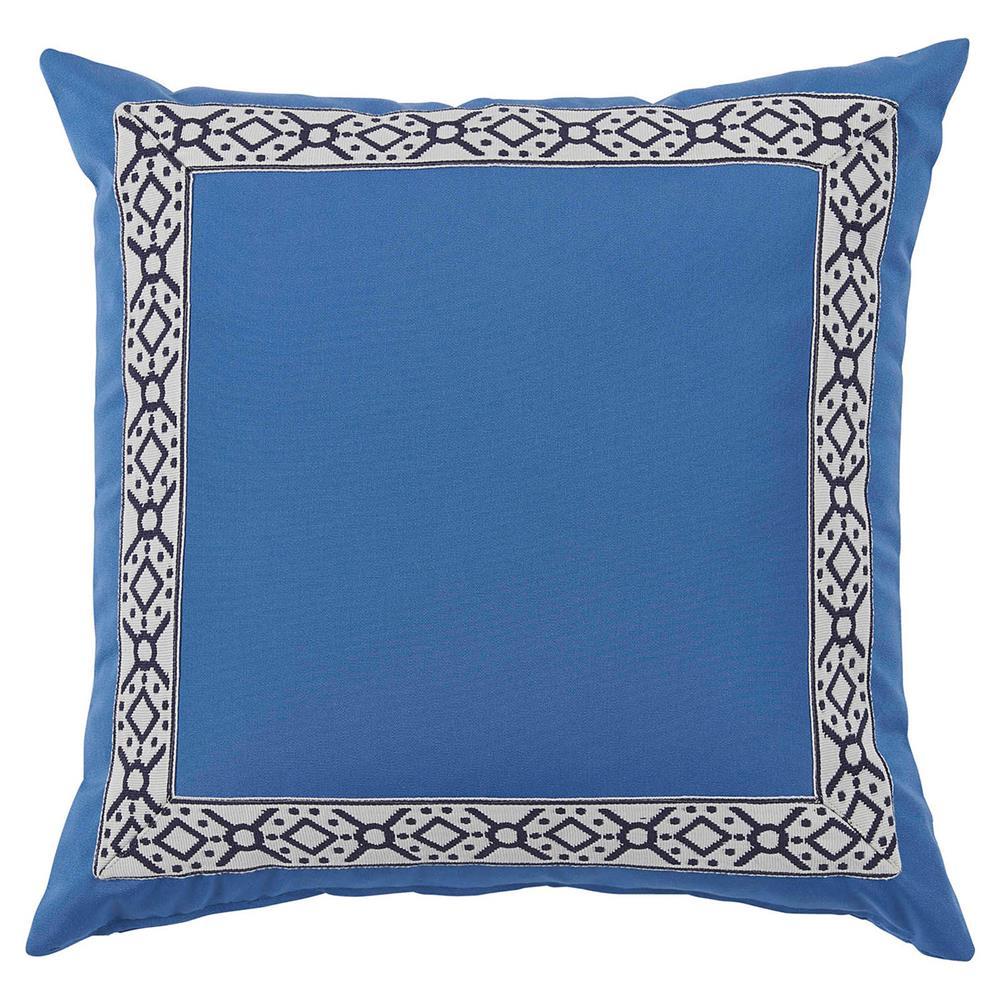 Perri Modern Global Trim Powder Blue Outdoor Pillow
