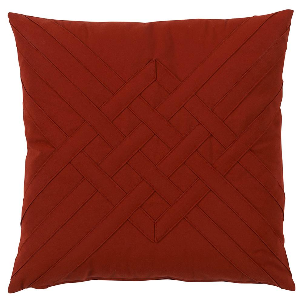 Will Modern Red Lattice Weave Outdoor Pillow - 20x20 Kathy Kuo Home