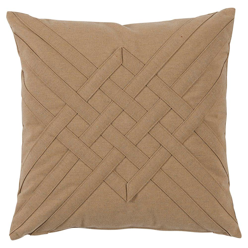 Will Modern Tan Lattice Weave Outdoor Pillow - 20x20 Kathy Kuo Home