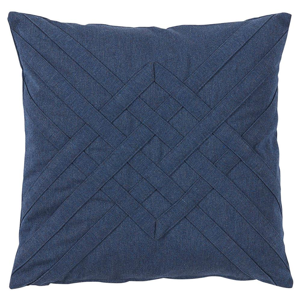 Modern Blue Outdoor Pillows : Will Modern Blue Lattice Weave Outdoor Pillow - 20x20 Kathy Kuo Home