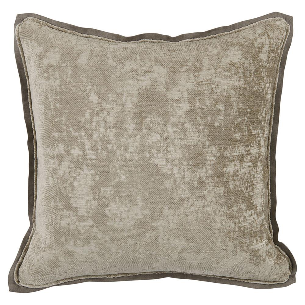 Harriet Regency Washed Herringbone Grey Pillow - 22x22 Kathy Kuo Home