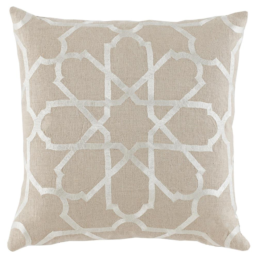 Modern Embroidered Pillow : Emmet Modern Embroidered Ivory Tile Beige Pillow - 20x20 Kathy Kuo Home