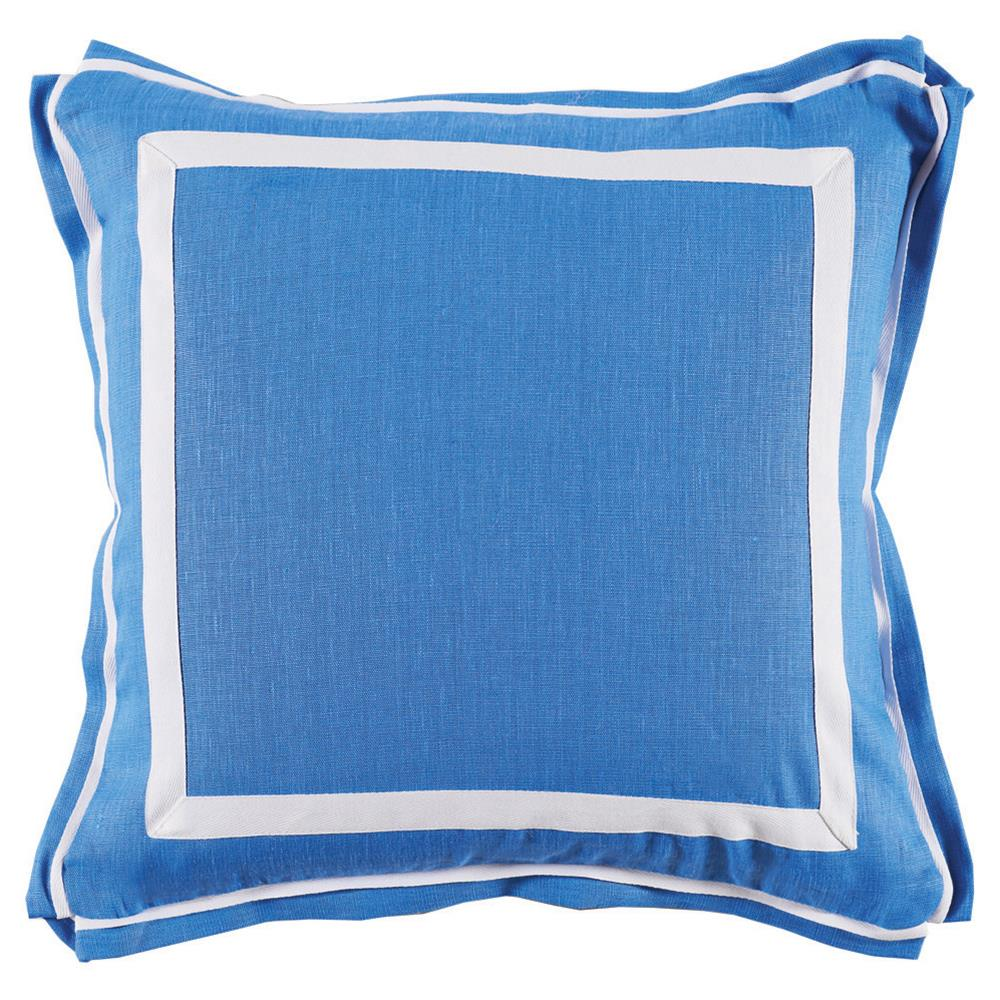 Bright Blue Decorative Pillow : Donnie Coastal Modern Twill Bright Blue Linen Pillow - 20x20 Kathy Kuo Home