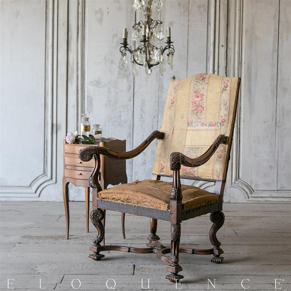 Antique louis xiv chair - Eloquence Antique Louis Xiv Dark Oak Rose Cotton Armchair Kathy Kuo Home