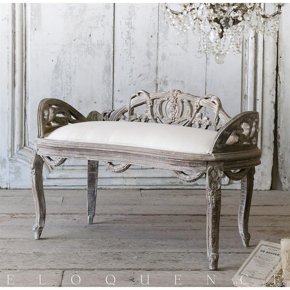 Eloquence vintage french dove grey low back dining banquette kathy kuo home - Banquette lit vintage ...