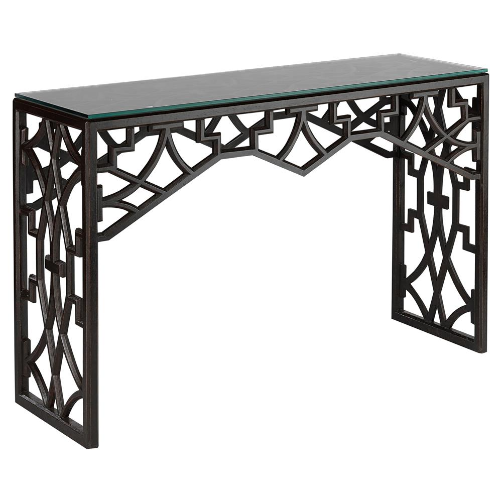 liadan global bazaar black wood trellis console table kathy kuo home
