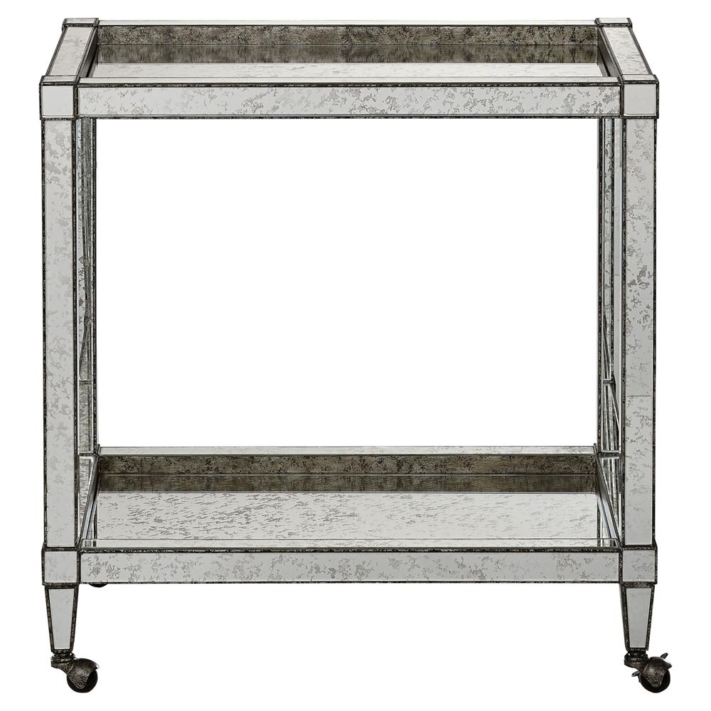 Thalia Regency Silver Art Deco Antique Mirror Bar Cart