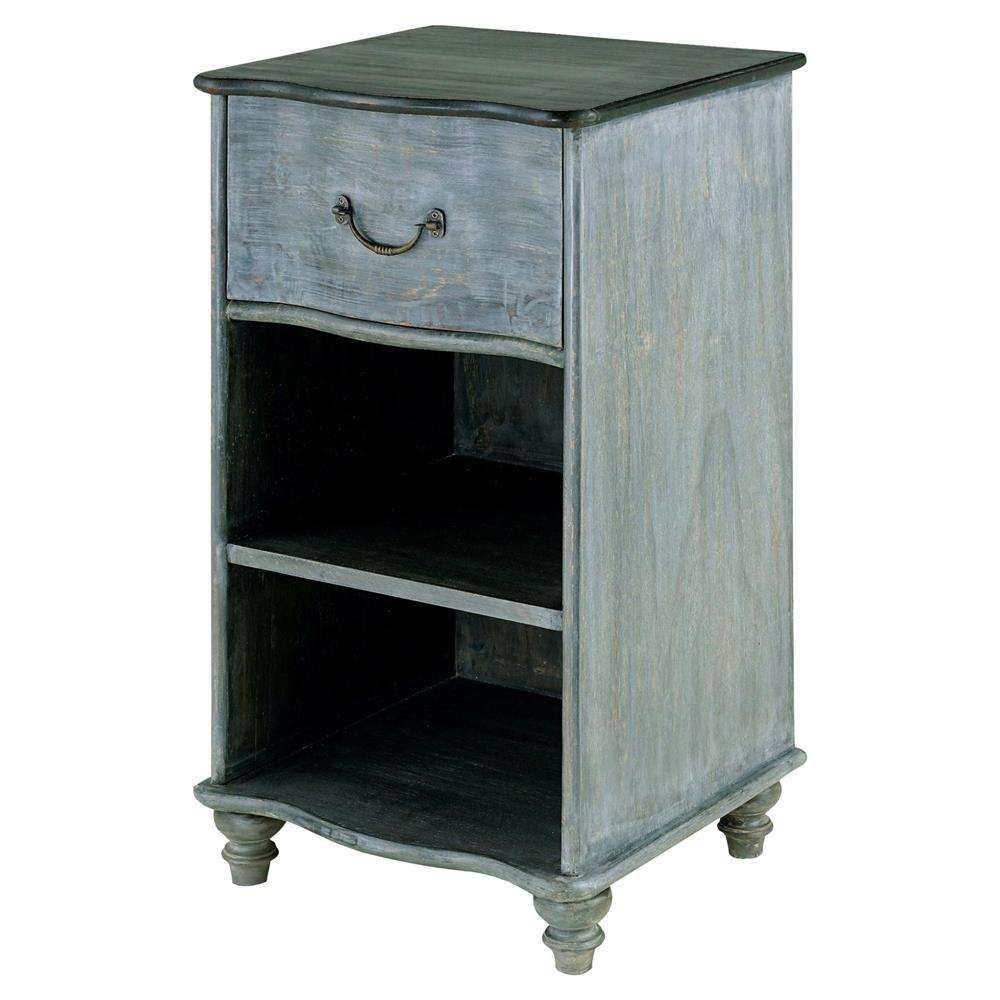 Cocteau french country blue grey rustic wood nightstand for Rustic wood nightstand