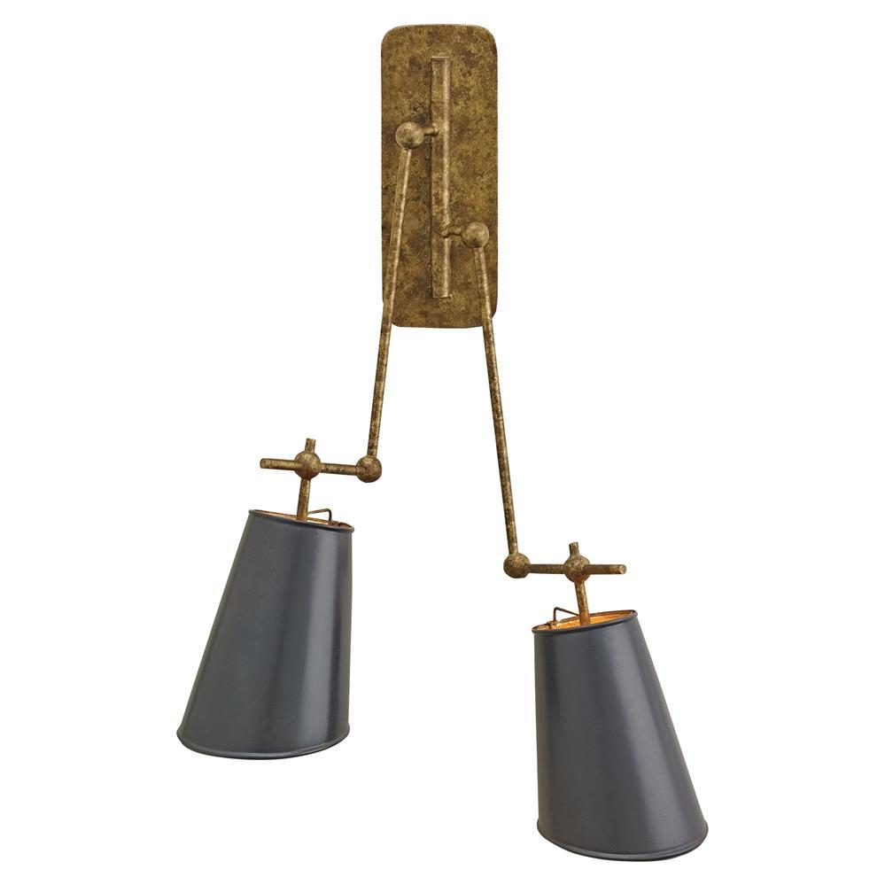 Cori Modern Classic Antique Gold Arm Black Shade Sconce