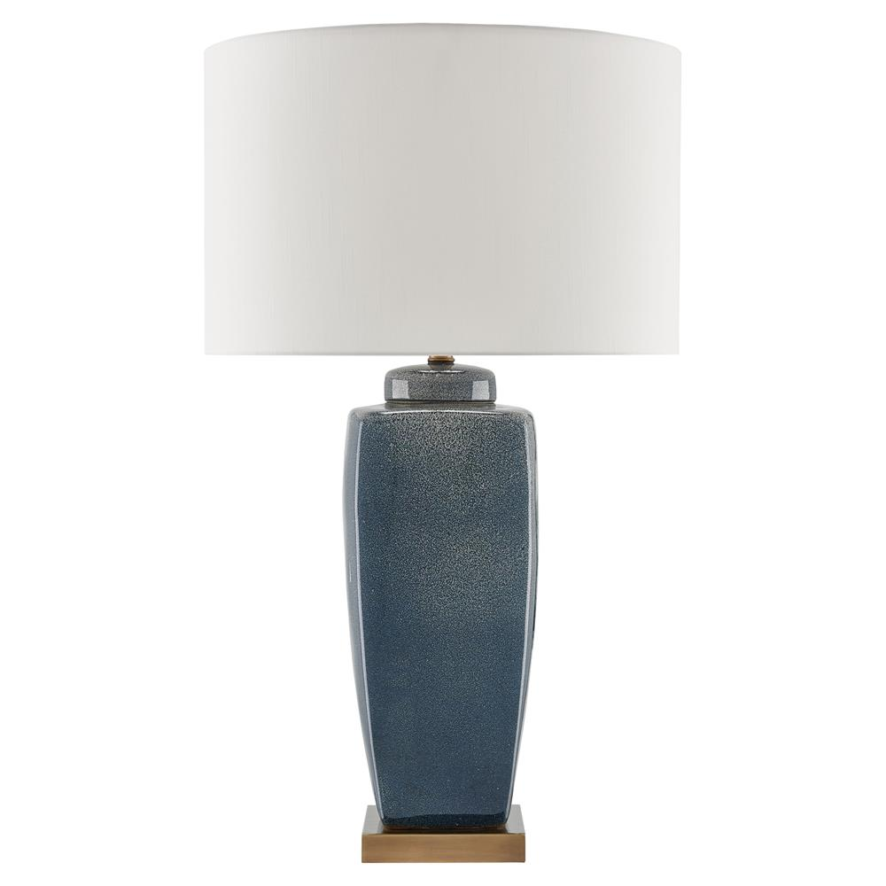 Briony Coastal Beach Speckled Blue Ceramic Tea Jar Table Lamp | Kathy Kuo  Home