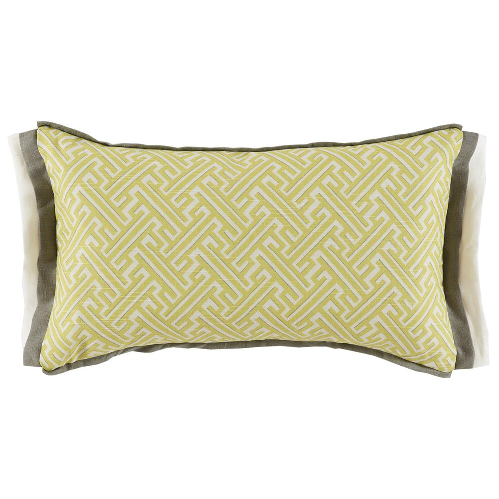 Modern Graphic Pillow : Bluth Modern Classic Graphic Yellow Pattern Pillow - 13x22 Kathy Kuo Home