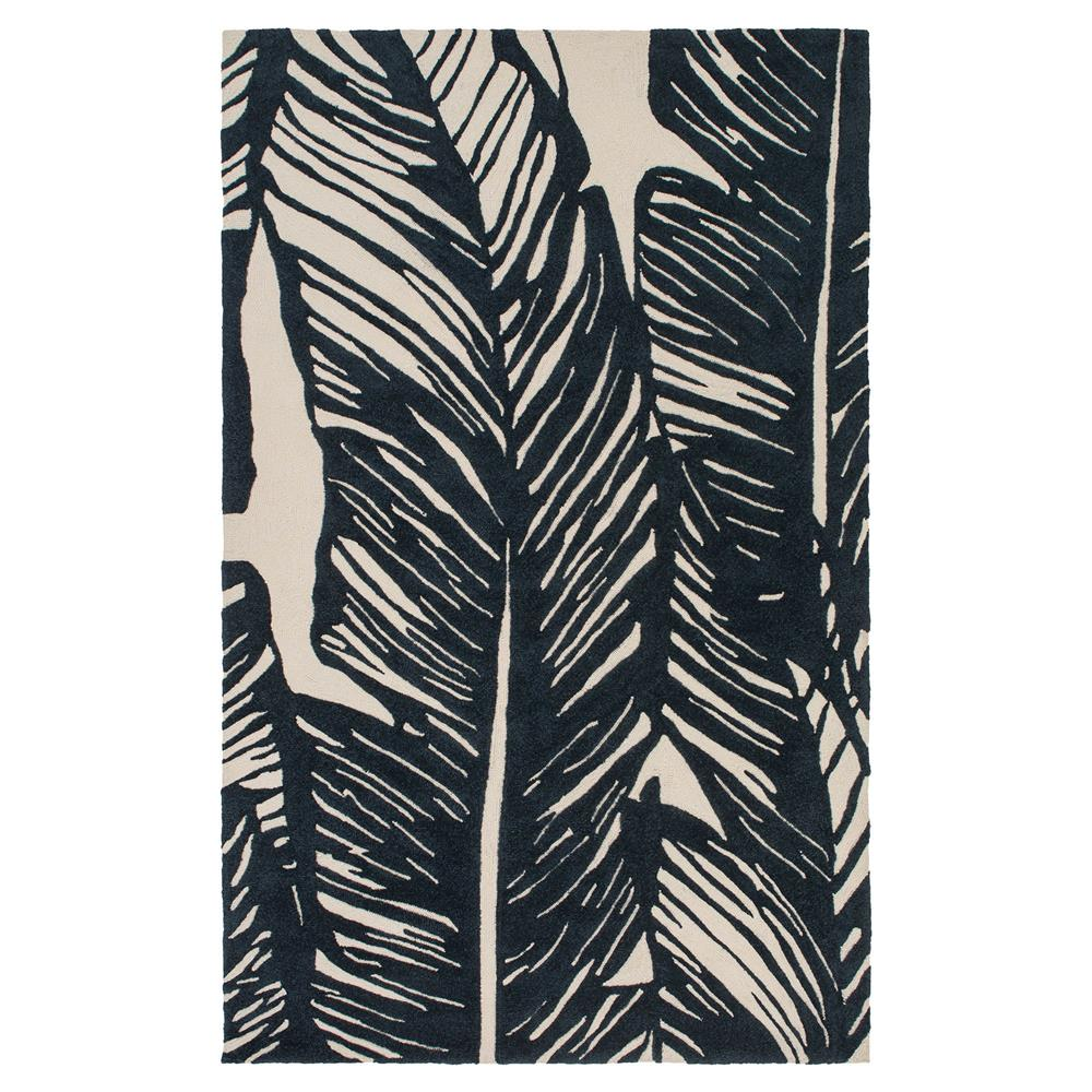 Perfect Tovere Coastal Black Palm Leaves Outdoor Rug - 4'x6' | Kathy Kuo Home VX46