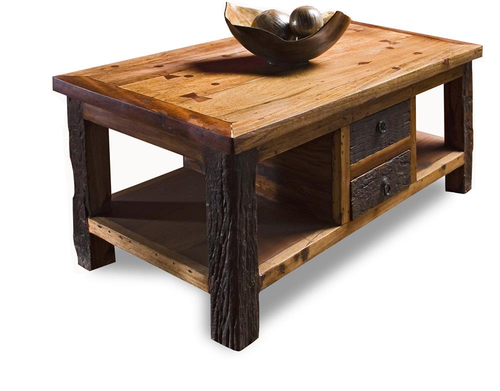 Reclaimed wood lodge cabin rustic coffee table kathy kuo for Wooden coffee tables images