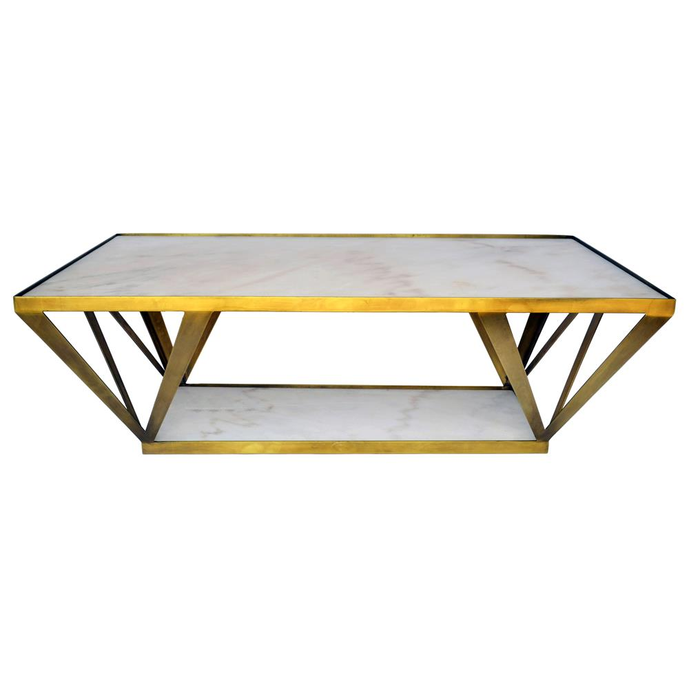 Aldrich Hollywood Regency Deco White Marble Brass Coffee Table - Marble and brass end table
