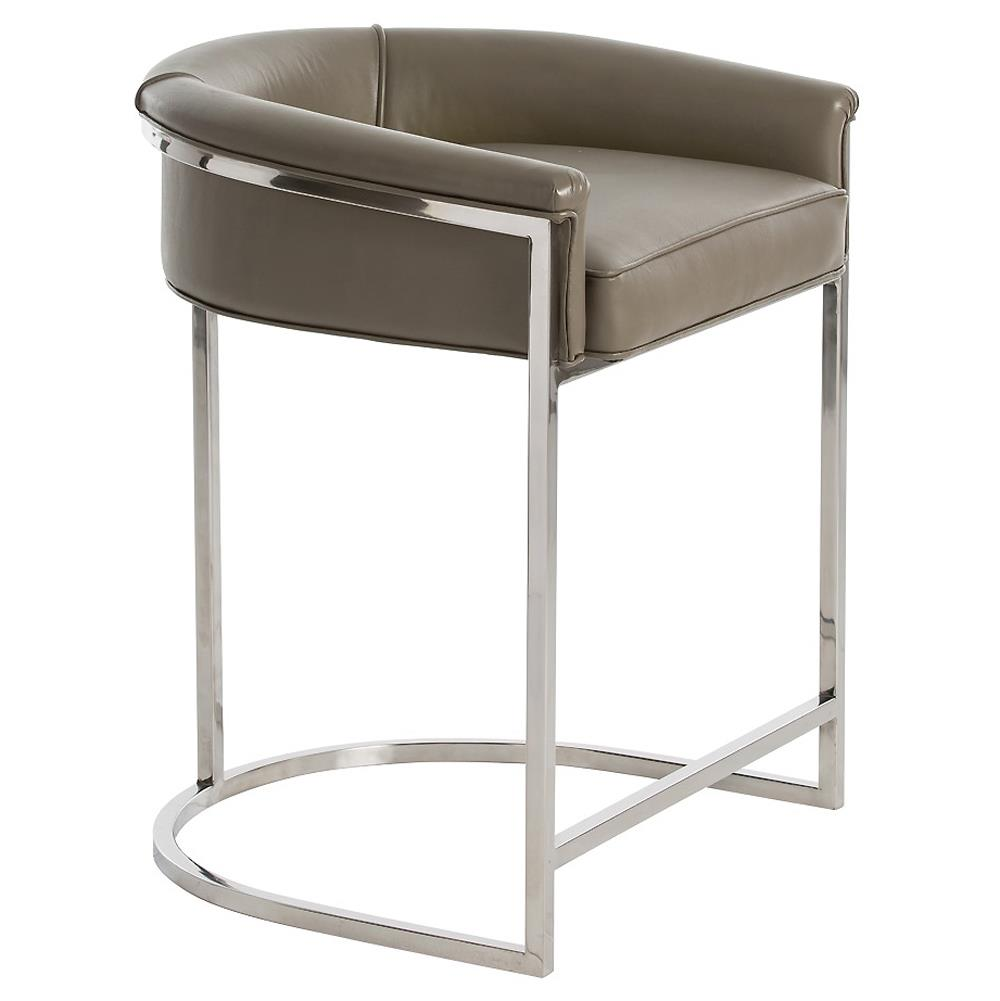 Arteriors Calvin Modern Grey Leather Low Silver Counter Stool