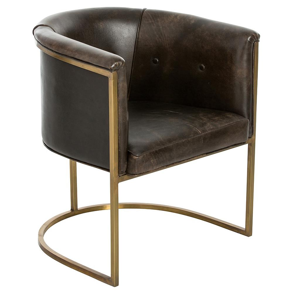 Calvin modern brown leather brass club chair kathy kuo home for Modern leather club chairs