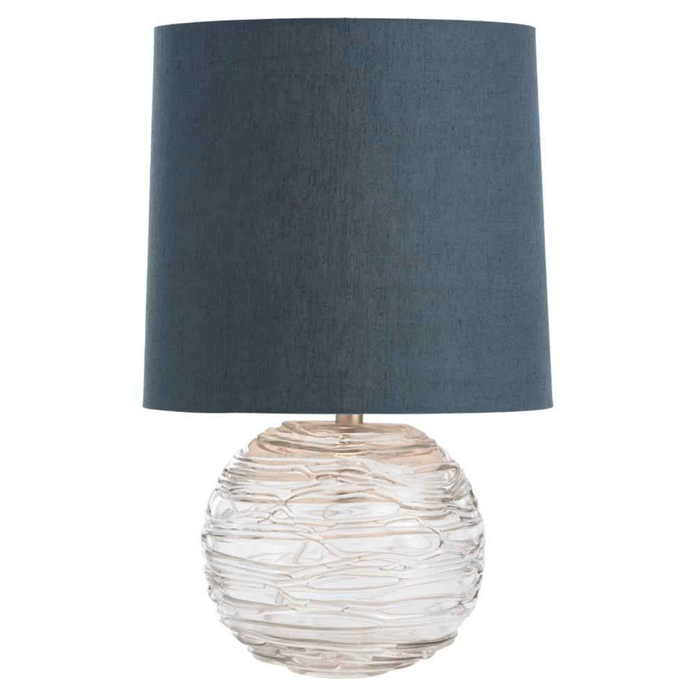 Raze Coastal Etched Glass Sphere Navy Table Lamp