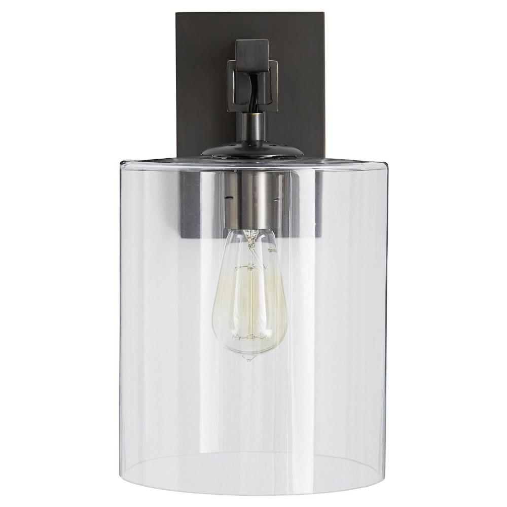 Modern Bronze Wall Sconces : Niu Industrial Modern Bronze Glass Cylinder Wall Sconce Kathy Kuo Home